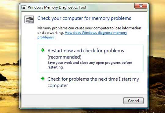 Vista Memory Diagnostic