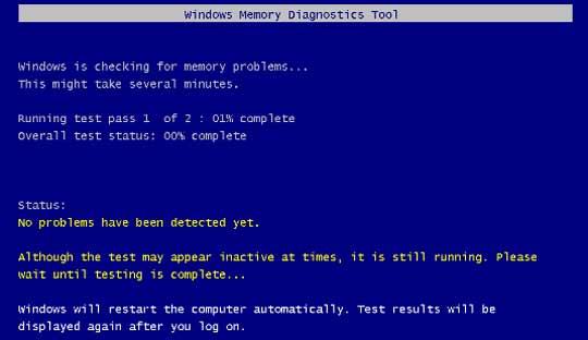 Testiranje memorije u Visti